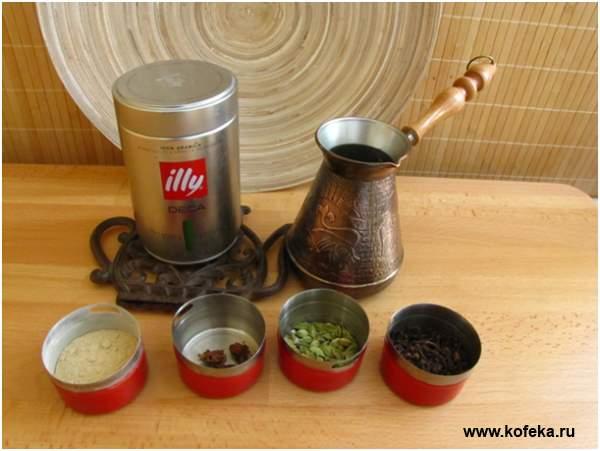 ингредиенты для кофе в турке со специями